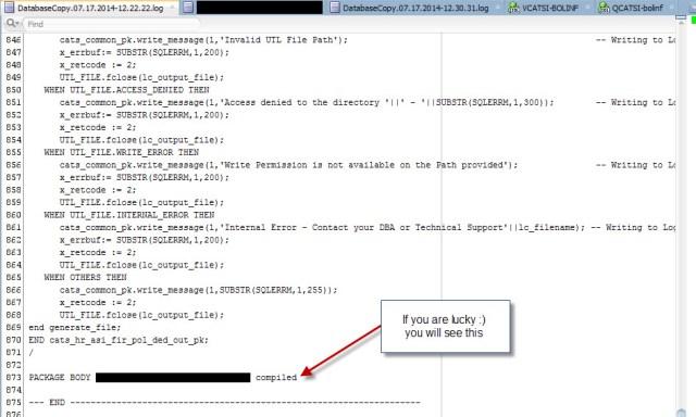 SQL Developer Database Copy - log
