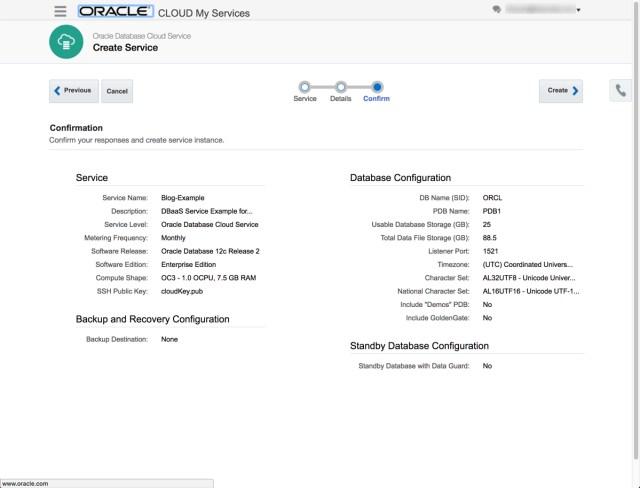 My Cloud Services DBaaS Screen 3