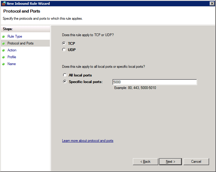 How to open firewall ports on Windows Server 2008 R2 Enterprise - Protocol and Ports