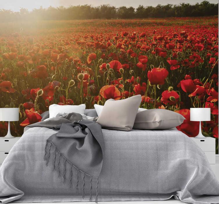 Wandsticker Wandtattoo Rote Mohnblumen Mohn Bluten Blumen