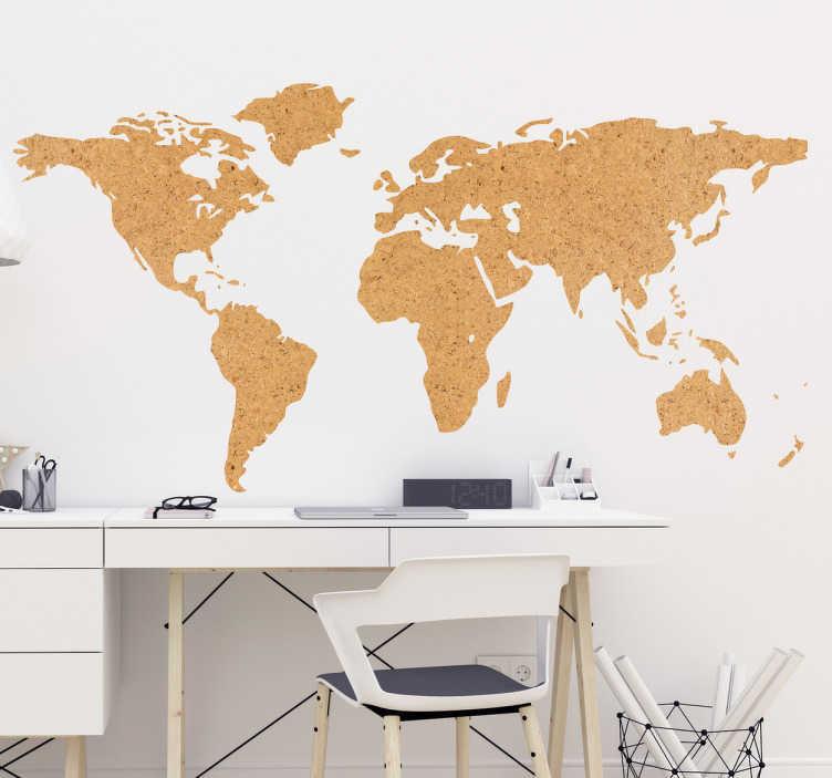 sticker carte du monde simili texture liege