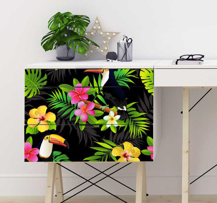 sticker deco meuble motif tropical