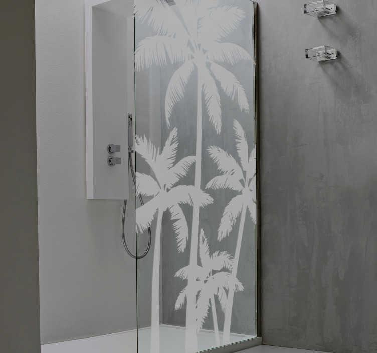 palm trees translucent shower sticker