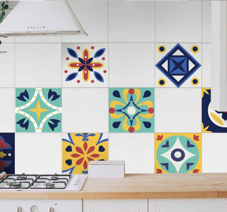 sticker mural carrelage colore pour cuisine