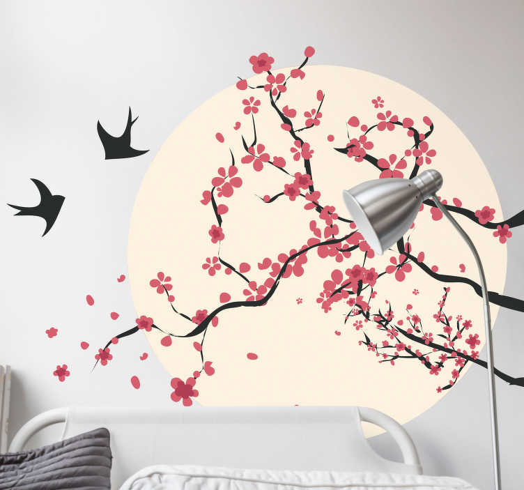 sticker mural cerisier et oiseaux