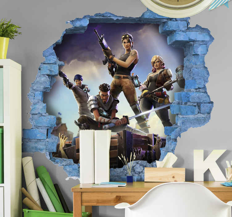 stickers muraux de jeu video de personnage fortnite 3d
