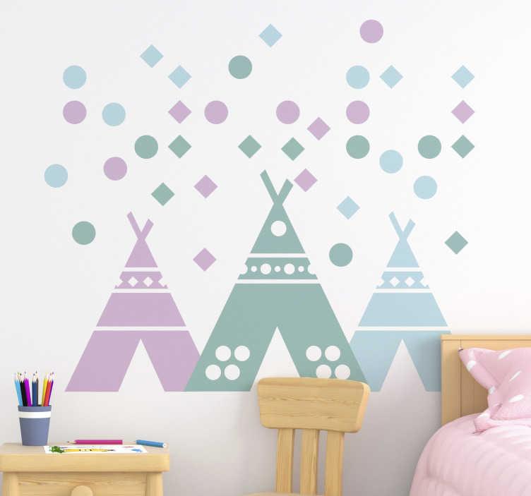 tente tipi aux couleurs pastel stickers muraux chambre enfant