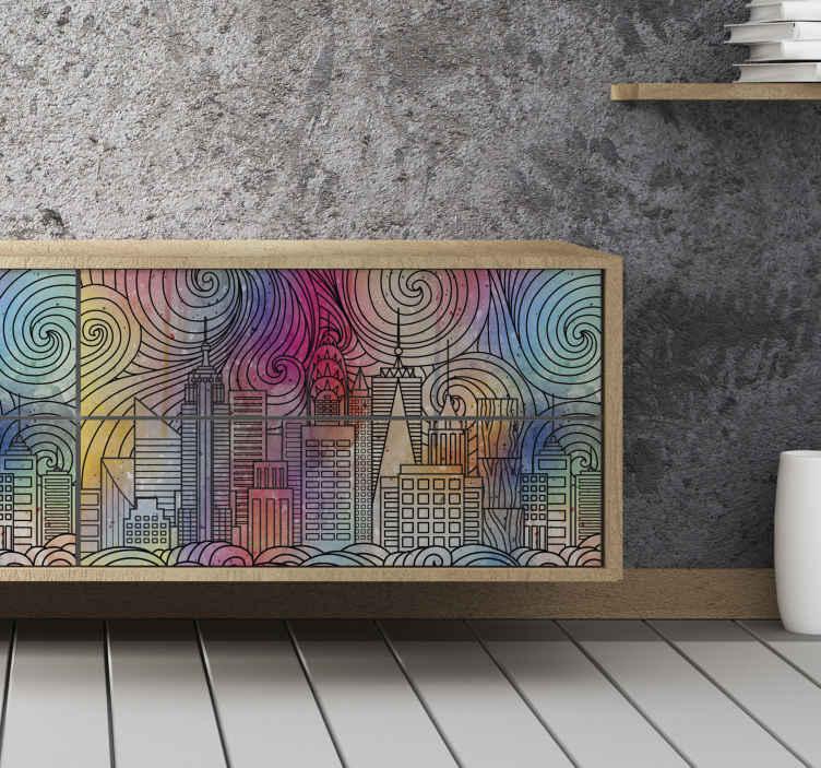 sticker deco meuble ville peinture