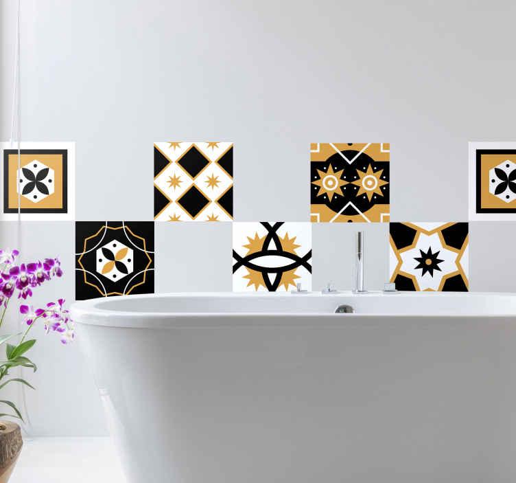 sticker pour carrelage jaune noir et blanc