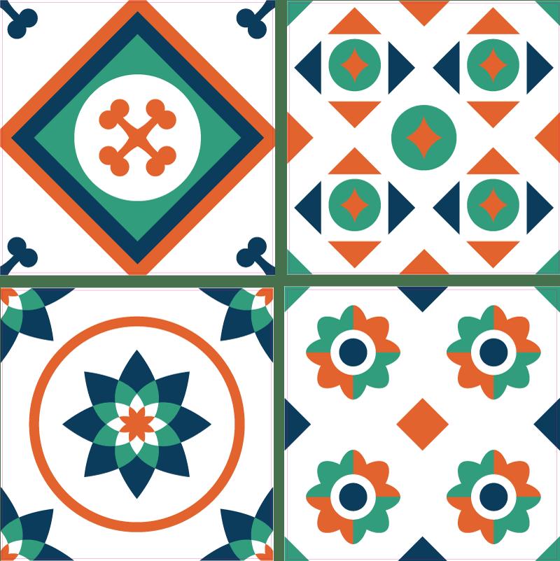 sticker pour carrelage motif geometrique vert rouge noir