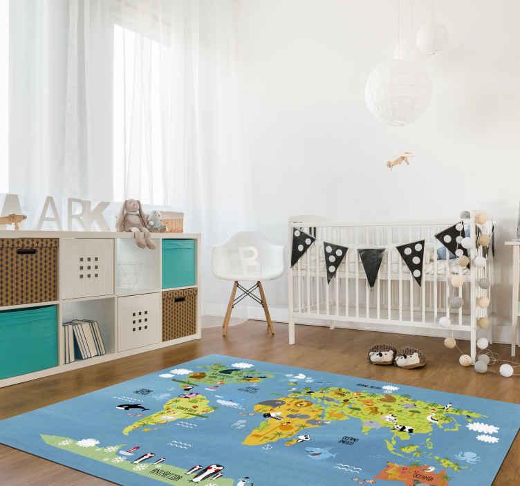 tapis vinyle enfants carte du monde animal