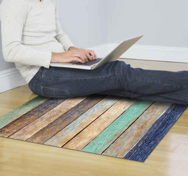 tapis de vinyl en bois vieilli