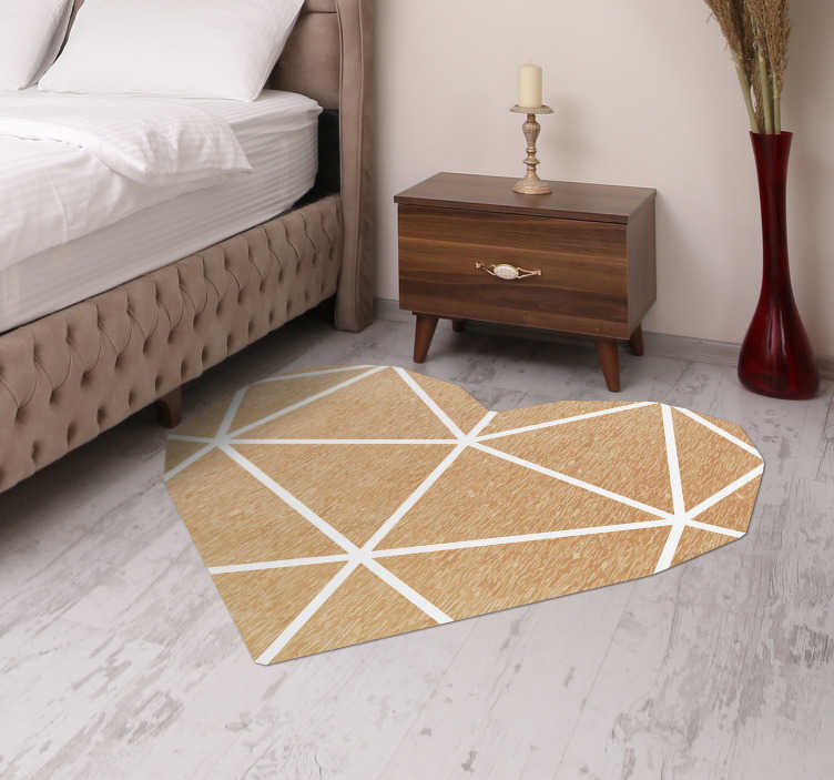 tapis geometrique coeur beige