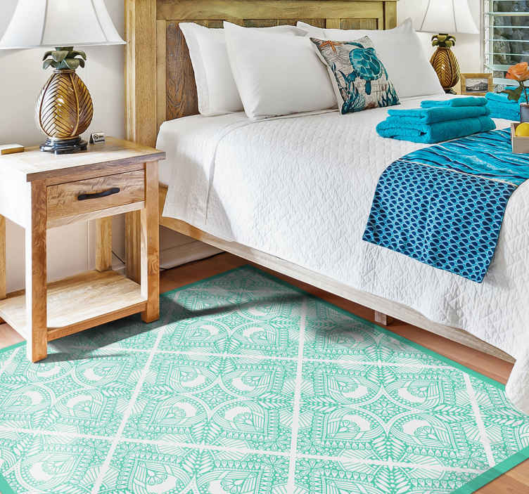 tapis vinyle chambre design ornemental