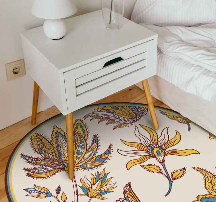 tapis vinyle rond fleurs et motif paisley