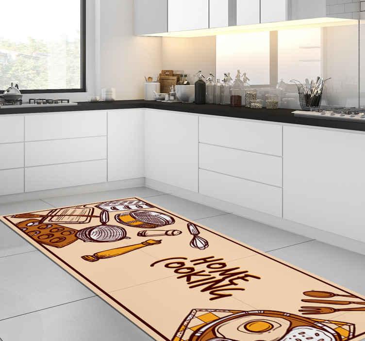 tapis vinyl avec citation sticker de cuisine maison
