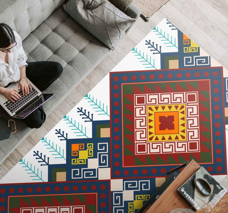 geometric ethnic pattern mosaic vinyl flooring