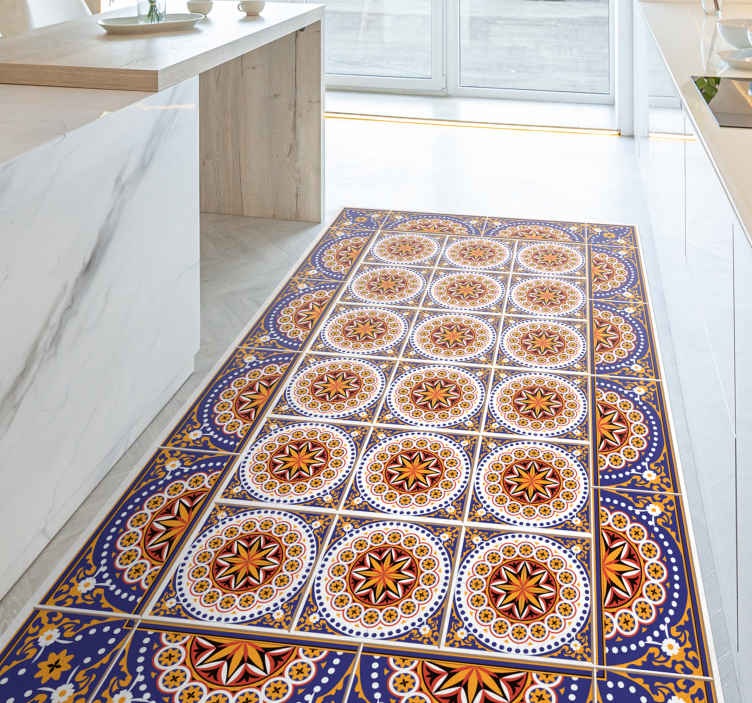 tapis vinyl carreaux de ciment de cuisine en sticker