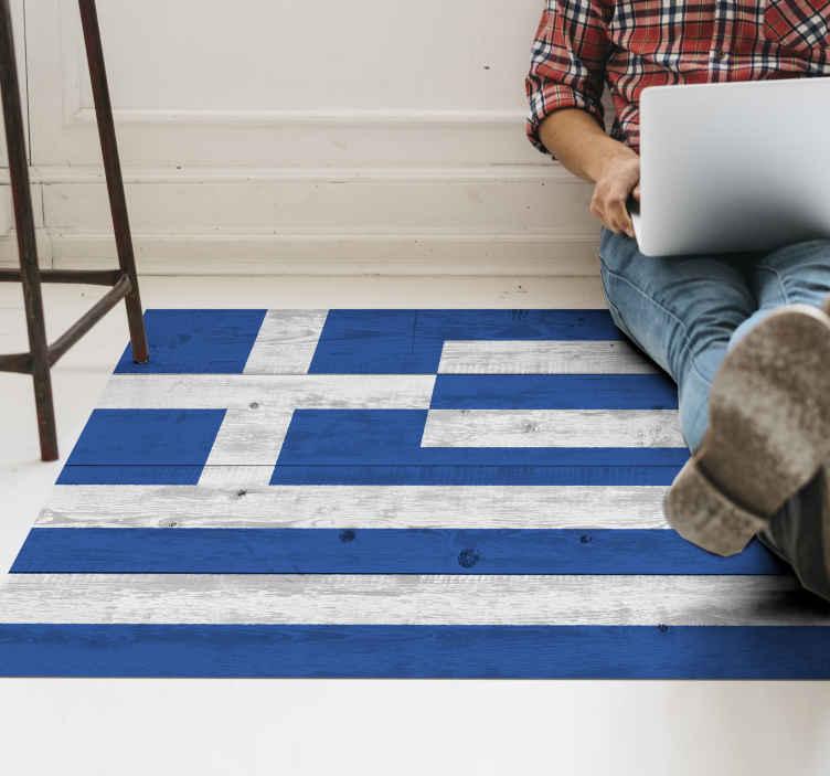 tapis vinyl bois drapeau grec en bois