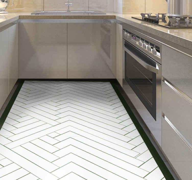 abstract white tiles mosaic vinyl flooring