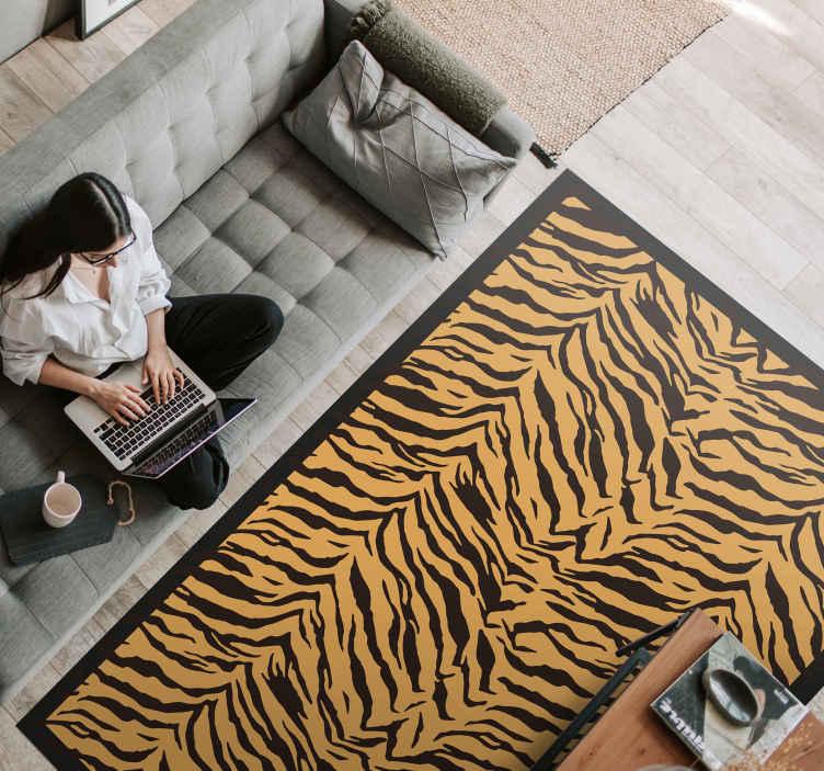 tapis salon effet tigre