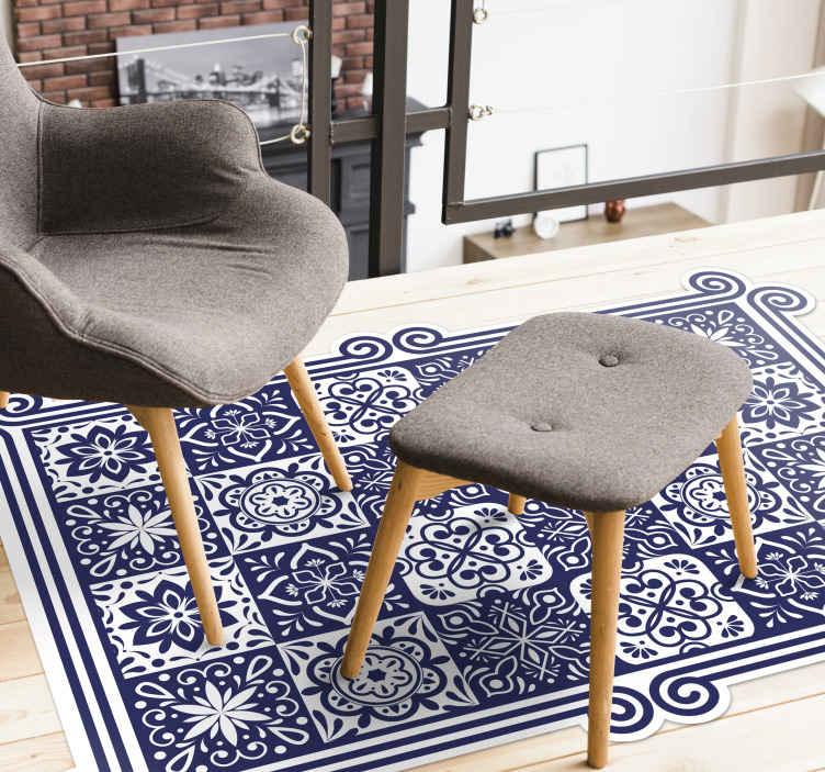 tapis vinyl carreaux de ciment carreaux bleus et ruban blanc