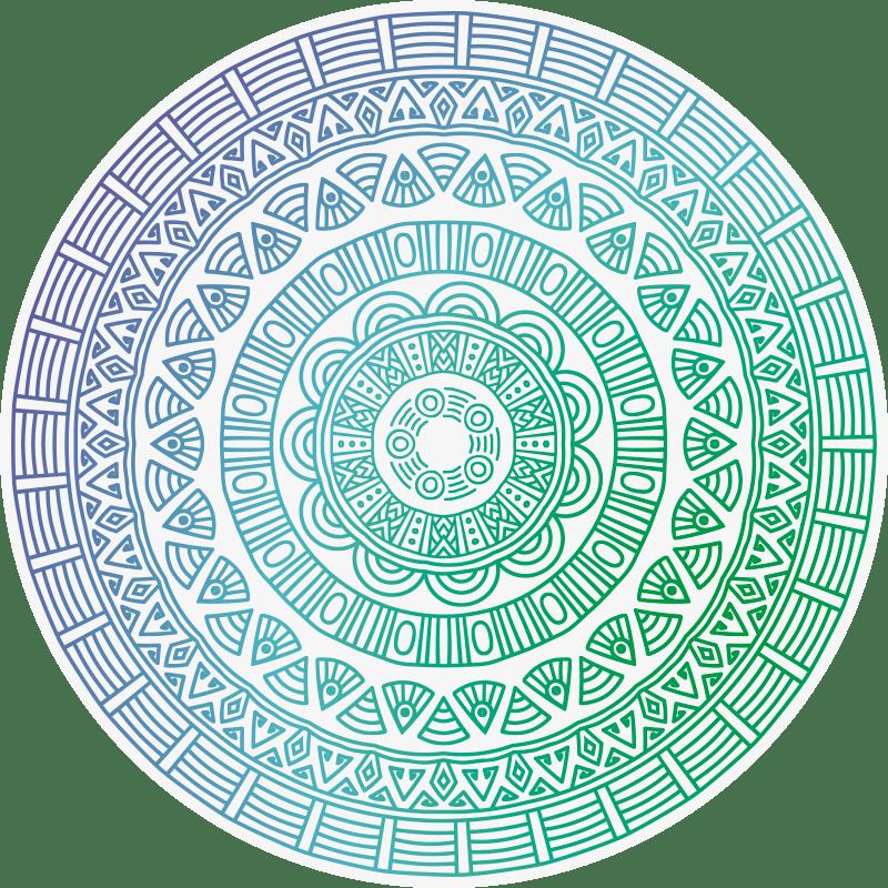 tapis decoratif en vinyle mandala rond