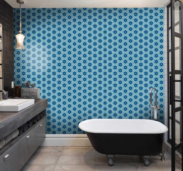 blue tiles wallpaper bathroom