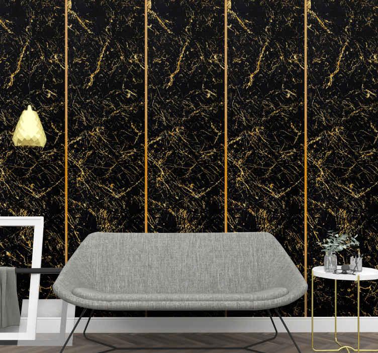 papier peint salon texture de marbre noir et or