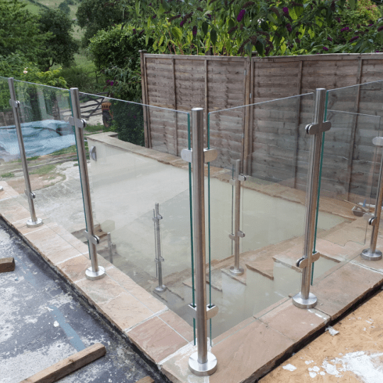 Bespoke Glass Balustrade garden patio