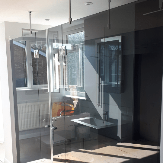 Bespoke Glass Shower Enclosure Black Glass