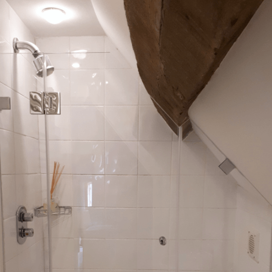 Bespoke Glass Shower Enclosure sloped eaves