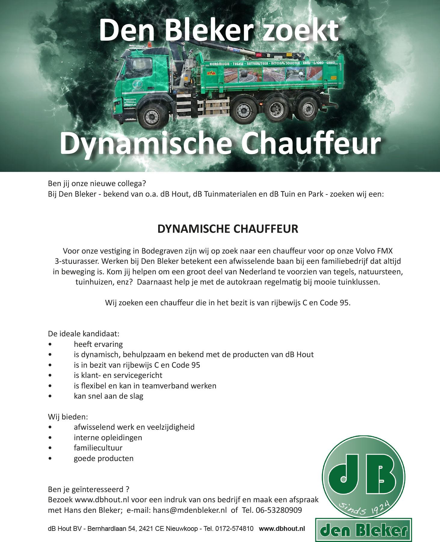 dB Tuinmaterialen zoekt per direct Dynamische CHAUFFEUR