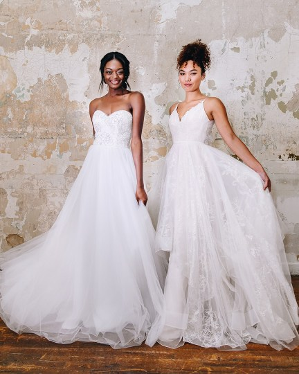 Brides in long sparkle wedding dresses