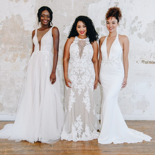 Brides in long wedding dresses with plunging necklines