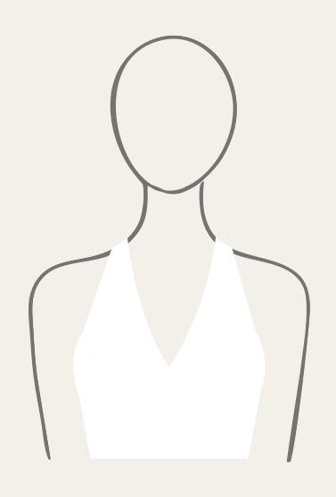 Illustration of halter neckline.