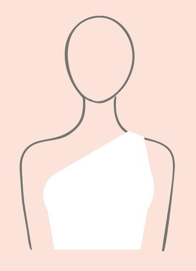 Illustration of one shoulder neckline wedding dress type.
