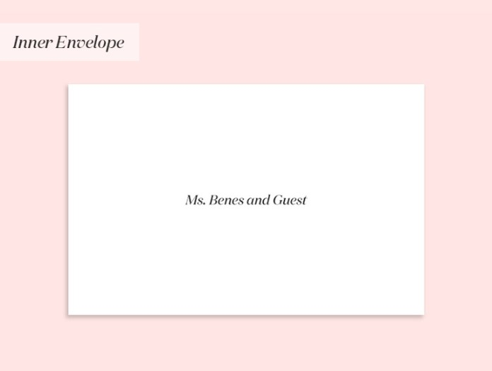 Wedding invitation to a single person (with a guest)