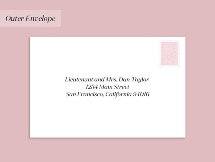 Wedding invitation to a member of the military & spouse