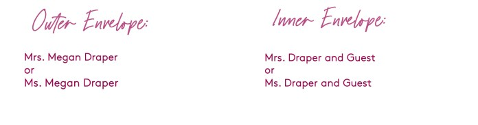 how to address a wedding invitation addressed to a divorced woman (with a guest)