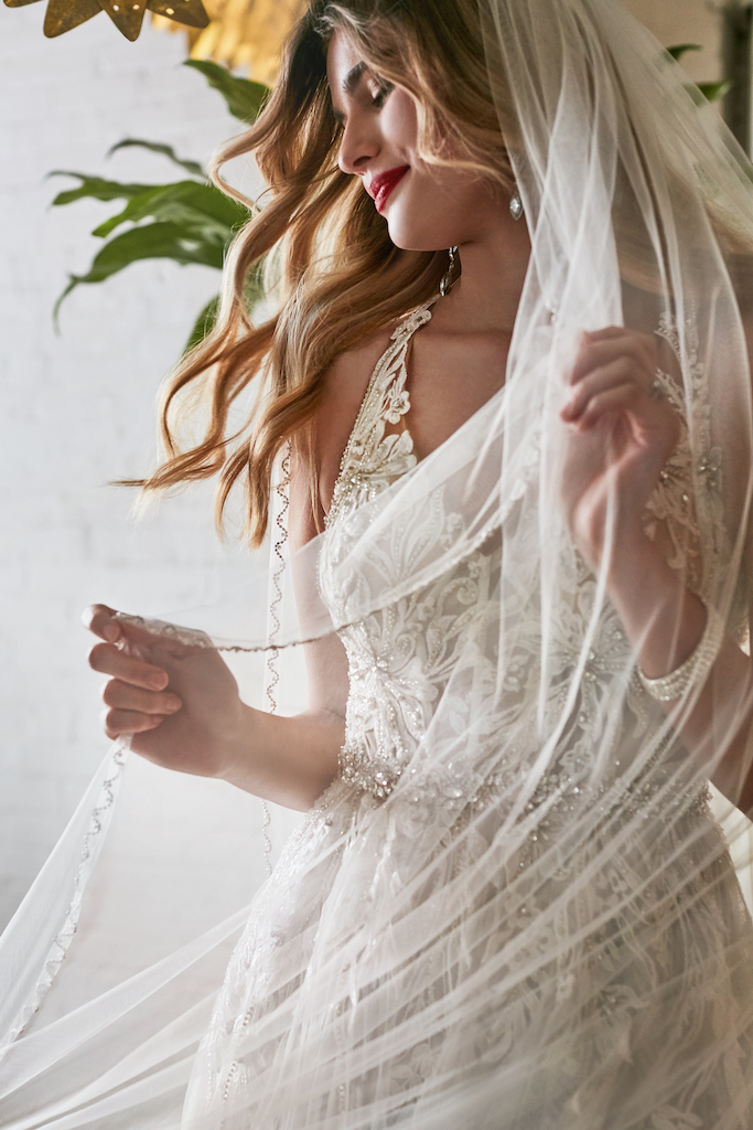 Bride with wedding dress and veil