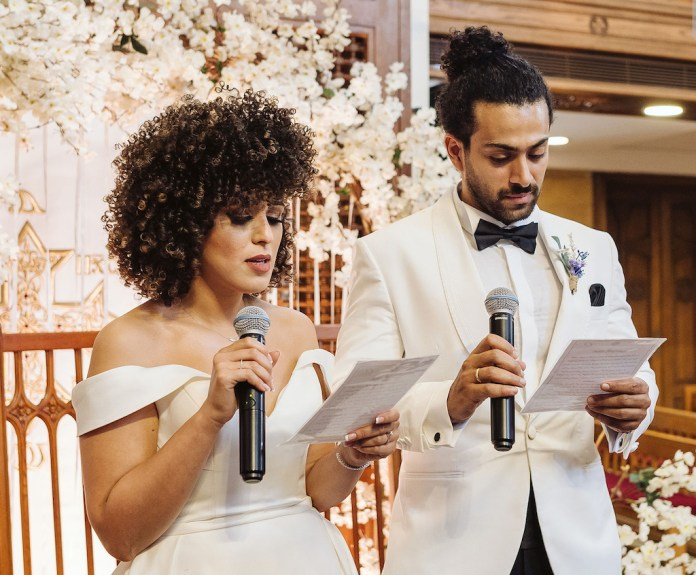 Bride and groom make vows at a romantic and intimate wedding in Egypt