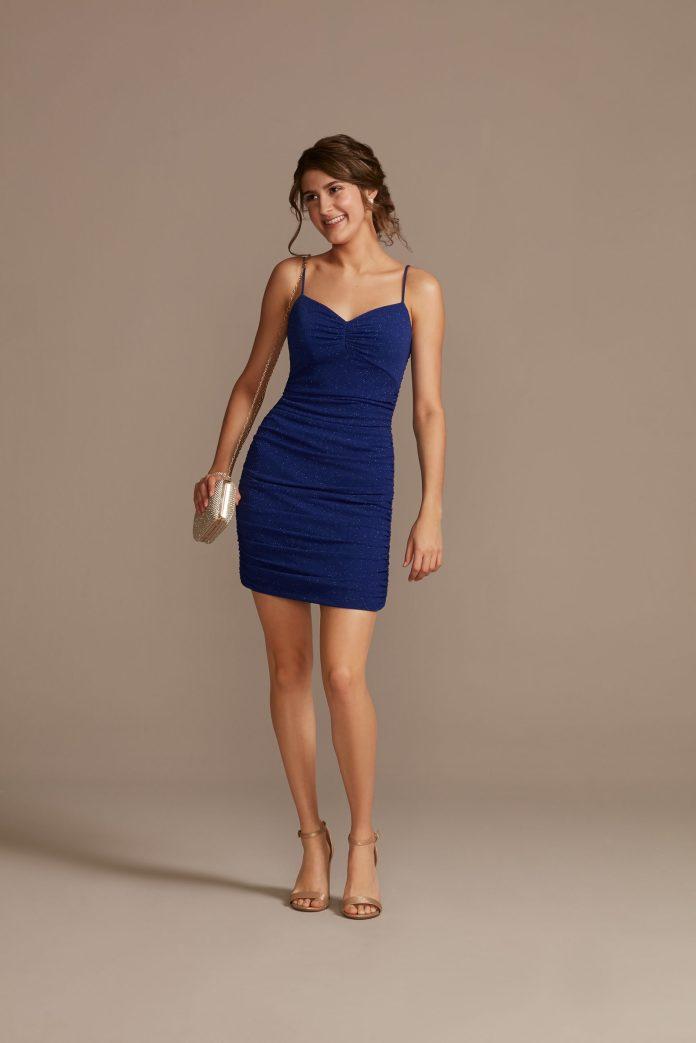 blue mini dress with ruffles