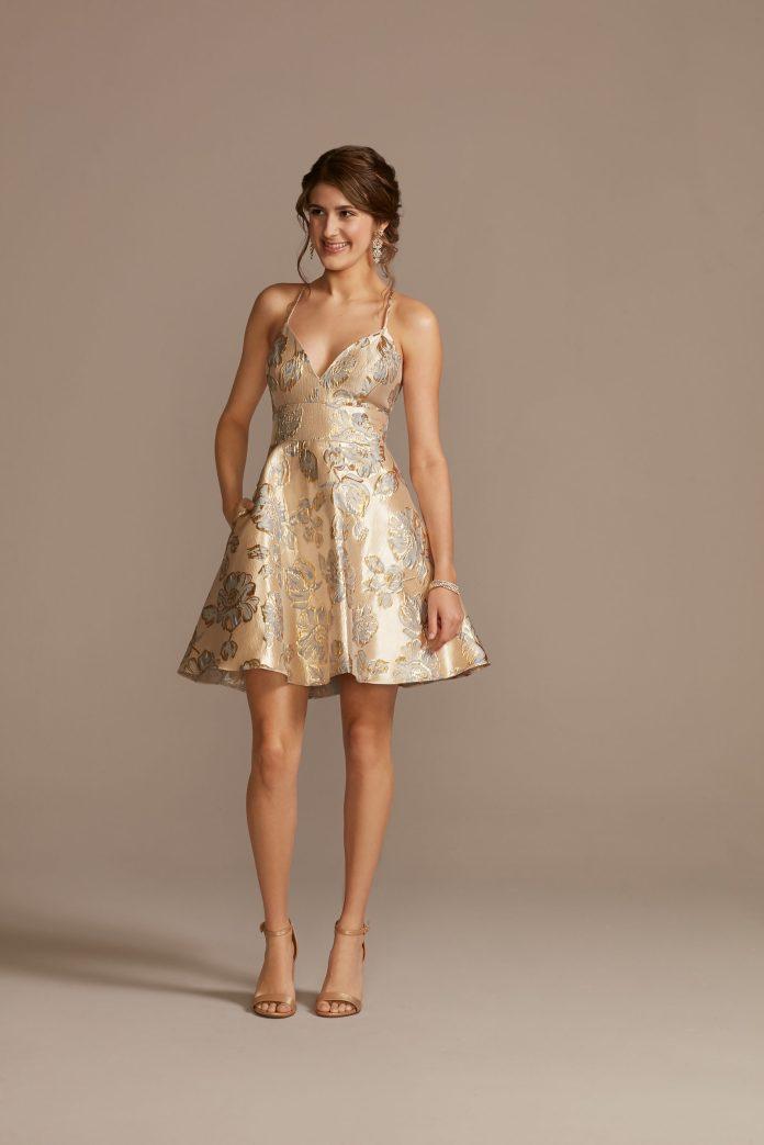 golden skater skirt dress