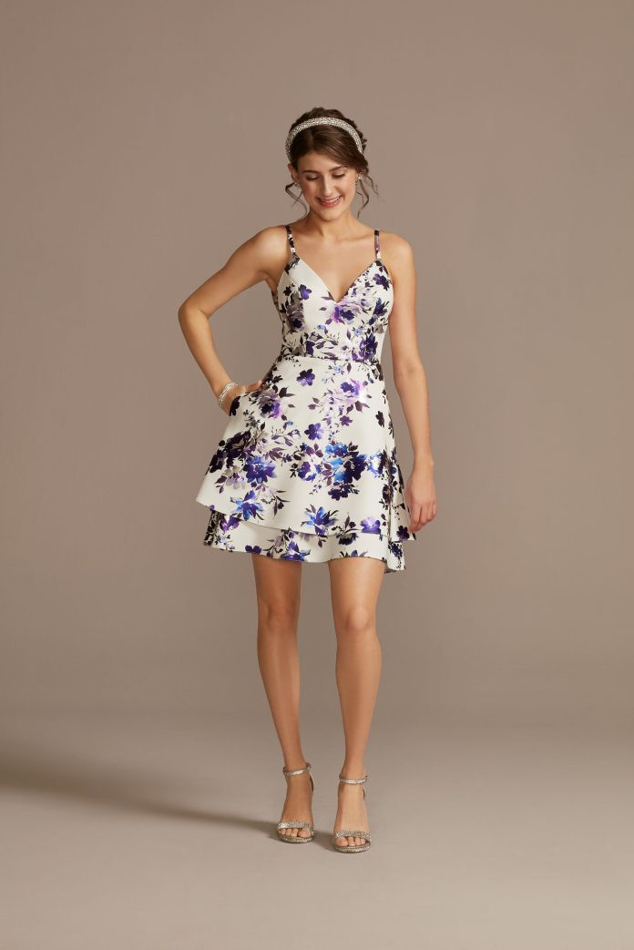 Dress with a floral skater skirt