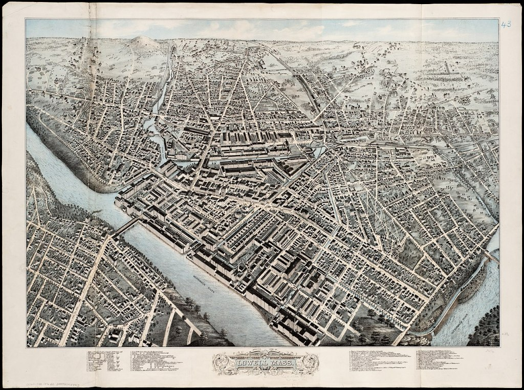Map of Lowell, Massachusetts