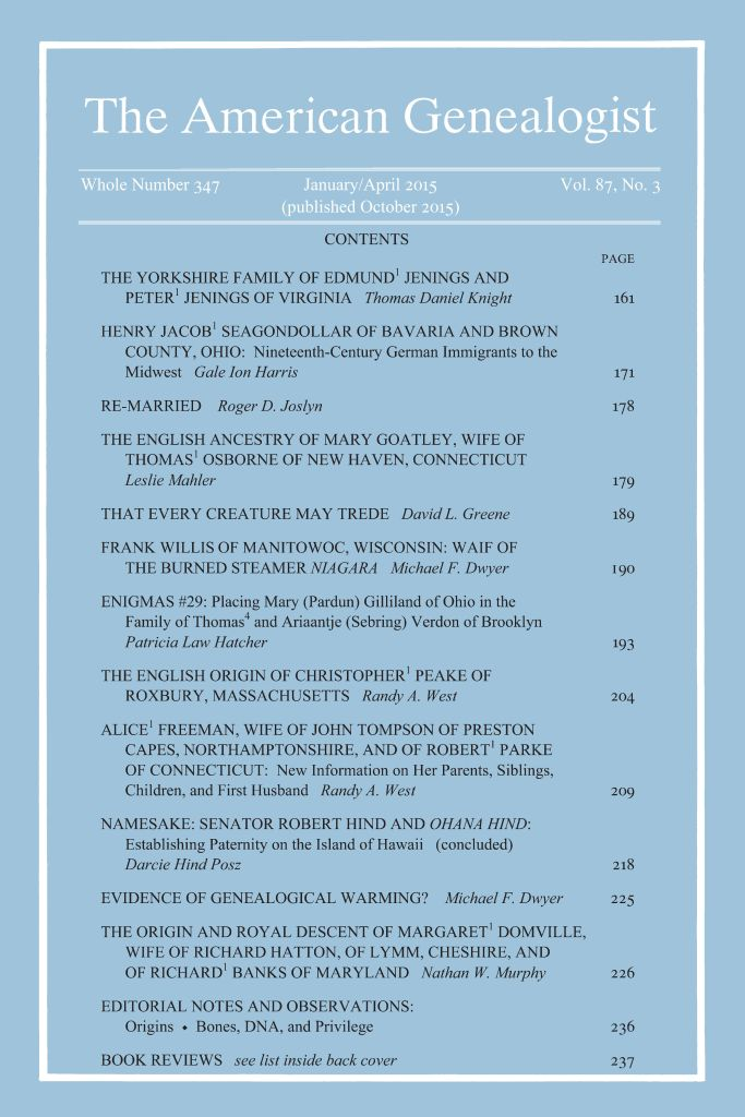 Cover of Journal with table of contents