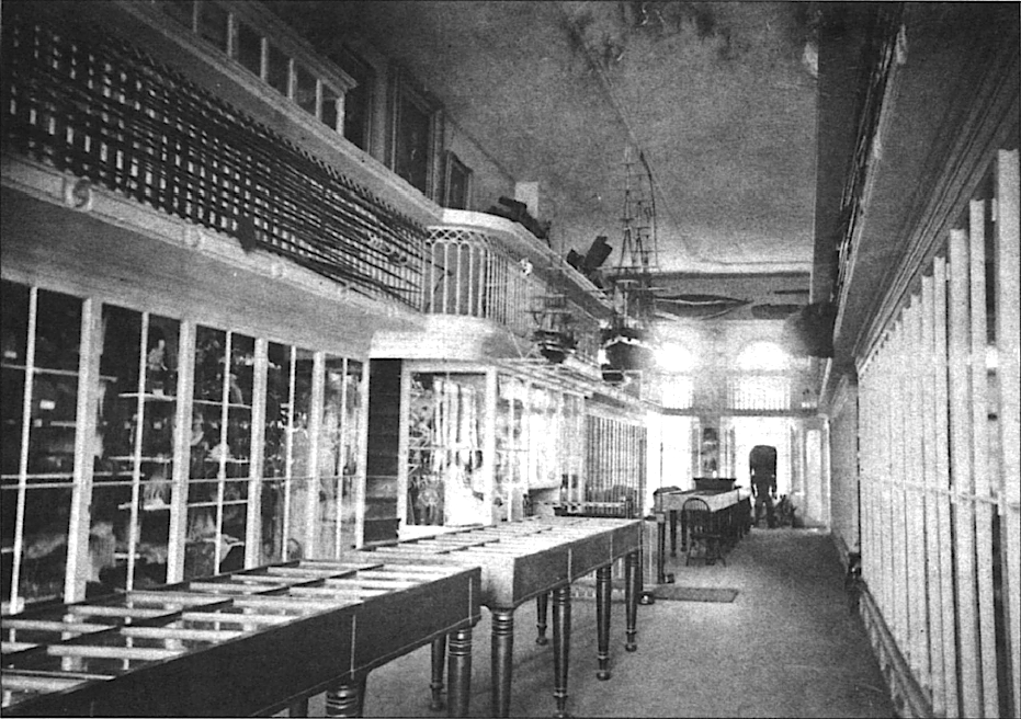 Black and white photo of museum