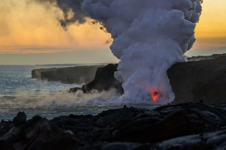 KALAPANA, HI - Kilauea Volcano emptying lava into the ocean