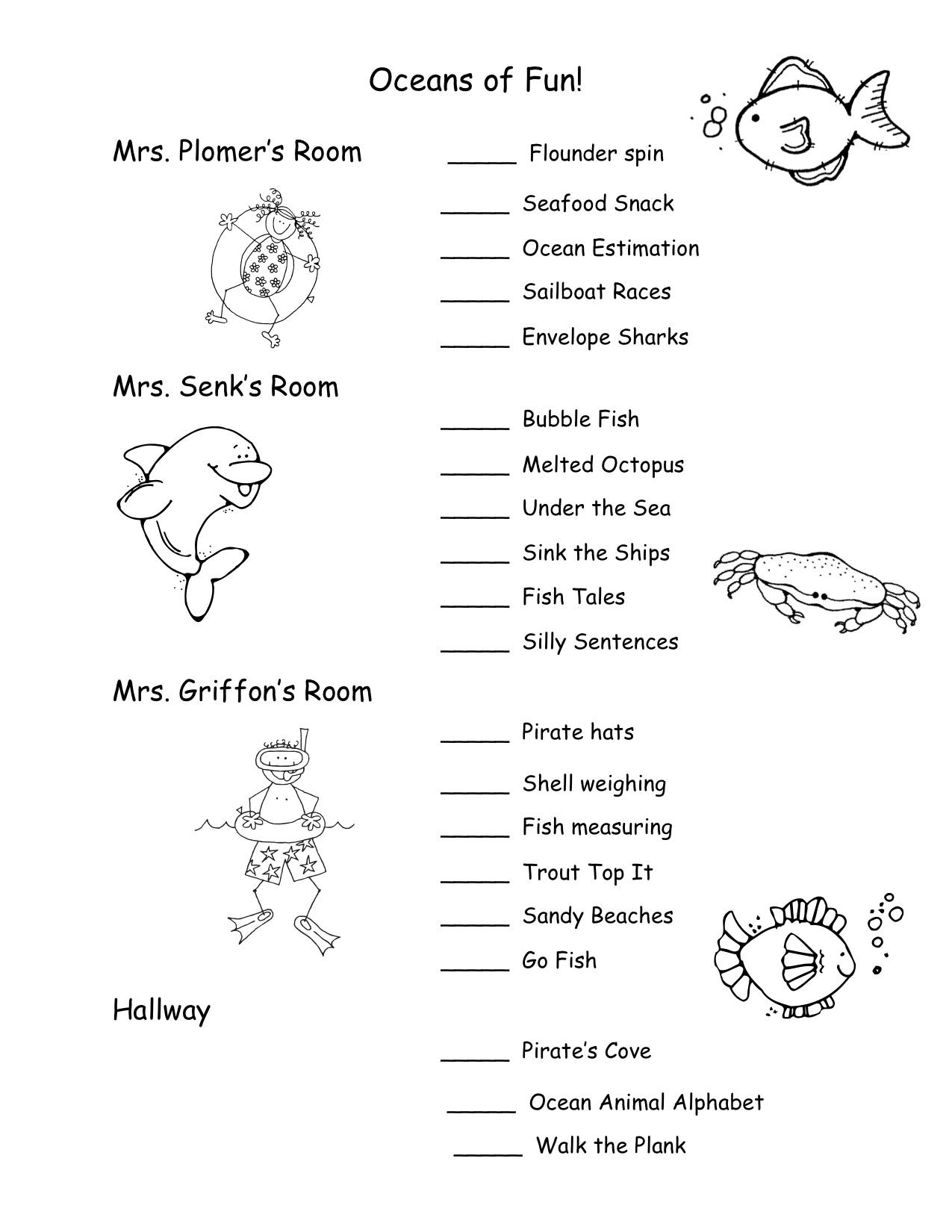 Ocean Reading Worksheet